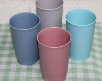 Set of 4 Vintage Tupperware Pastel Colored Plastic Tumblers, 1980's Tupperware Juice Cups, 8 oz. Plastic Drinking Glasses, Pink, Blue, Grey