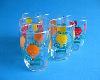6 vintage mid century graphic design MOD 60s drinking glasses set
