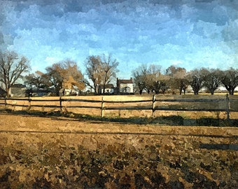 Fine Art Print of the Cullen Pippen Farm in Eastern North Carolina in Watercolor Rendering