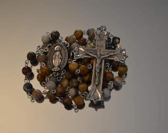 Catholic Rosary, Crazy Lace Agate Rosary, Rosary, Rosaries, handmade