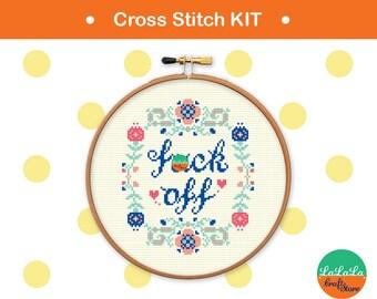Cross stitch KITs mature cross stitch Funny cross stitch Modern cross stitch Swear words Embroidery kit adult cross stitch DIY kits F*CK off