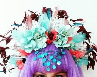 Blue  Red Feather Headdress Festival Crown Coachella Mardi Gras Headband Showgirl Burlesque Carnival Headpiece