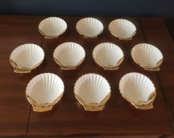 Vintage Royal Worcester Gold and White Shell Dishes Set of 10