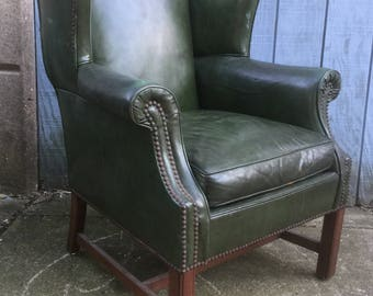 Quality Vintage Leather Wing Back Chair