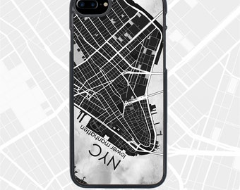 iPhone 7 Plus NYC Lower Manhattan Map Cases, New York City iPhone 7 Covers, Geometric Pattern Art iPhone 6S Case, iPhone 6 + Covers for man