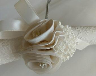 Bridal Gown Hanger, Bridal Covered Hanger,  Padded Bridal Hanger, Lingerie Hanger, Hanger for Brides Gown, Lace Hanger, Brides Hanger