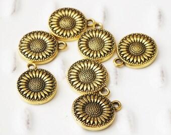 Antique Gold, Sunflower Charm, Gold Flower, Gold Charm, Gold Round Charm, Bracelet Charm, Spring Charm, Summer Charm, Flower Charm,
