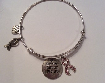 Never give up breast cancer awareness charm bangle