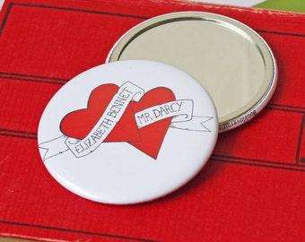 Pocket Mirror - Elizabeth Bennet Loves Mr Darcy - Pride and Prejudice - Jane Austen - Book Lover Gift - Vintage Tattoo Lover Heart Style