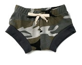 Camo Baby Bummies - Camo Baby Shorties - Camo Diaper Cover - Camo Nappy Cover - Tie Front Diaper Cover - Tie Front Bummies - Baby Whimsy