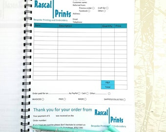 A4 Business Order & Receipt Book. Track orders, small business book, perfect for craft fairs and markets