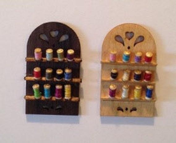 Dollhouse Miniature Thread spool wall rack kit