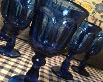 1970's Set of 5 (FIVE) Antique Blue Wine Glasses in the Old Williamsburg Pattern by Imperial Glass-Ohio, cottage, french country, cabin,