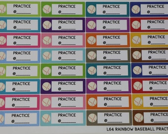 Baseball Practice Planner Stickers   Rainbow   perfect for all planners   L64