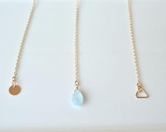 Dainty lariat necklace, Gold filled lariat necklace, lariat pendant neckace, lariat geometric necklace
