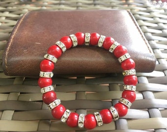 45 MM Tibetan Red Wood Beaded Bracelet