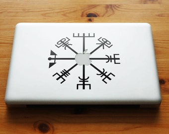 Vegvisir the Viking Compass Apple Decal Sticker for Apple Macbook and other Laptops | Viking Bjork Aegishjalmur