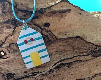 Beach Hut - long necklace with pendant, Beach House, Beach House, maritime jewellery, sea