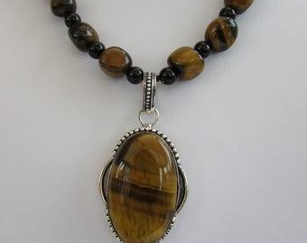 Lost your Grrrrrrrrrr !Tiger Eye 925 silver pendant on Chunky Tigereye bead chain