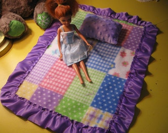 Soft Fleece Doll Blanket and Pillow set