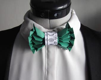 bow tie in green origami - mixed