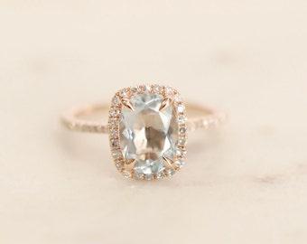 Oval Aquamarine Diamond, Halo Engagement Ring, Rose Gold Art Deco, Wedding Ring,  Aquamarine Wedding Ring, Diamond, Rose Gold, Halo Ring