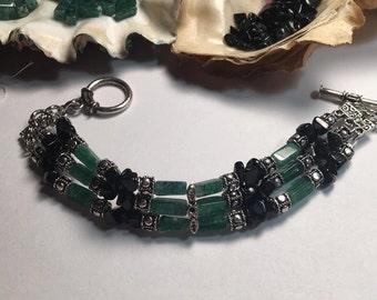 Handmade Women's Genuine Emerald Green Aventurine Black Obsidian Stone Beaded cuff Bracelet Aventurine bracelet obsidian cuff bracelet