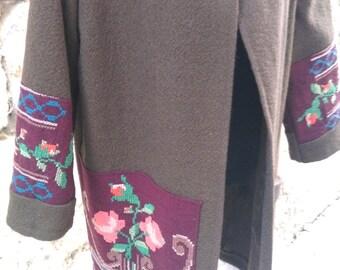 Unique brown wool coat
