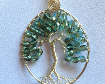Aquamarine Wire Wrapped Tree of Life Necklace, Silver Wire Wrapped Tree of Life Pendant, March Birthstone