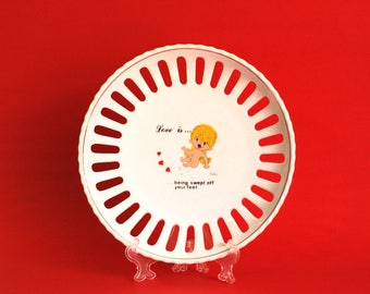 Vintage Kim Casali Love Is ... Trinket Dish or Plate - Being Swept Off Your Feet Kitsch Cute - LA Times 1970 - Made in Brazil