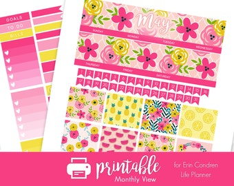 50% Off Printable Planner Stickers May Monthly View Kit! Bright Spring Theme! w/ Cut Files! For use with Erin Condren Life Planner!
