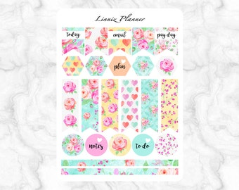 Watercolor Roses Flags (matte planner stickers, Filofax, Kikki K, Websters Pages, Color Crush)