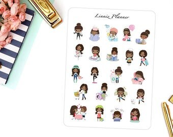 Sampler Sheet Saga | Girl (matte planner stickers, perfect for planners)