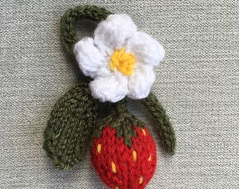 Strawberry Blossom Brooch, Hand Knitted Corsage