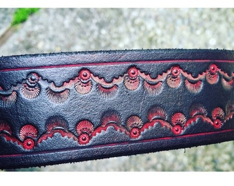 Black and Red Handcrafted Leather Belt