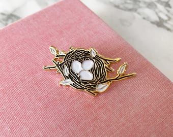 Nest- Soft Enamel Lapel Pin, Bird Collectible Art Jewelry
