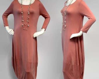 Designer Lagenlook Dress, Vesrsatile Dress, Designer Full Sleeve Dress, Peach Color, Sizes S, M, L