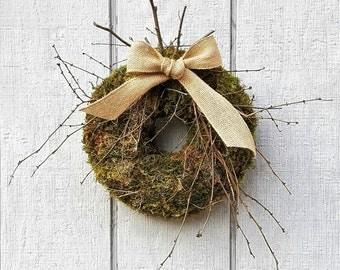 Natural Moss Wreath - Moss Wreath - Primitive Moss Wreath - Spring Moss Wreath - Rustic Modern Moss Wreath