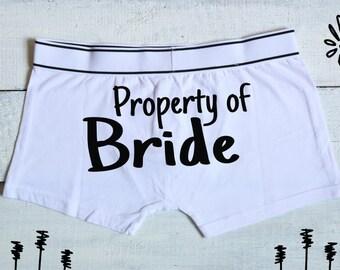 Propriété de mariée boxeur mémoires, propriété de la mariée, mariage lingerie, marié cadeau, mariage Boxers, marié sous-vêtements, cadeau pour le marié