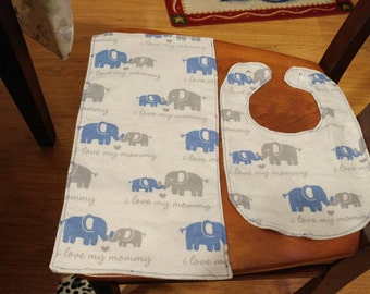 Blue and grey elephants bib and burp cloth set.