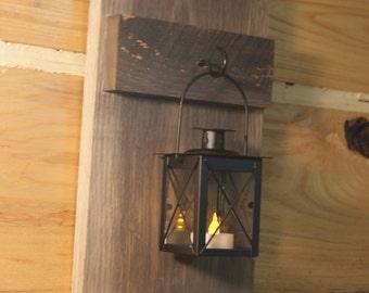 Rustic Wall Lantern Holder Finished in a Handmade Barnwood Finish