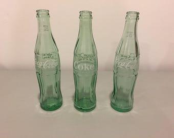SEVEN Coca Cola Bottles, 10 oz. Vintage Coca Cola Bottles, Hobbleskirt Coke Bottles, ACL Coke Bottles