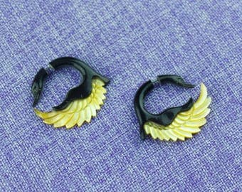 """Fake Gauge Earrings, """"Swan """" Horn,Mother of Pearl, Naturally Organic, Hand Carved, Tribal"""