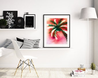 Palm Tree Art Print, Tropical Wall Art,  Palm Artwork, Spray Paint Art, Tropical Art, Beach Decor, Palm Tree Decor, Art Print,  A4 A3 size