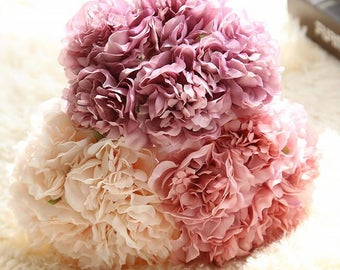 5 bunches of Fabric  Artificial Flowers Roses Floral Wedding Decor Bridal Bouquet Flowers