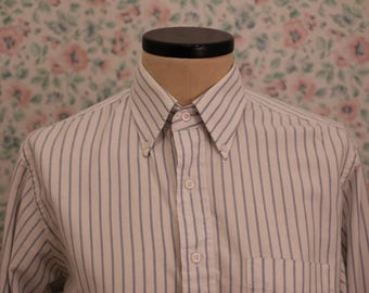 80s White and Blue Striped Dress Shirt