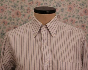 Vintage White and Blue Striped Dress Shirt
