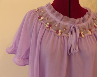 Cute 1960s Baby Doll Nightdress Mini dress pyjamas - purple lilac