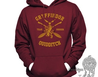 SEEKER - Gryffin Quidditch team Seeker Yelow print printed on MAROON Hoodie