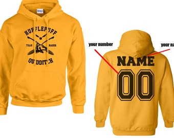 CHASER - Custom Back, Huffle Quidditch team Chaser Black print printed on Gold/Yellow Hoodie
